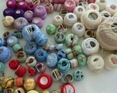 Vintage tatting crochet thread 100 rolls pink reds blues cream one tiny finished piece of lace