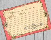Red Recipe Cards 4x6 Victorian Digital Printable 3x5 Recipe Card
