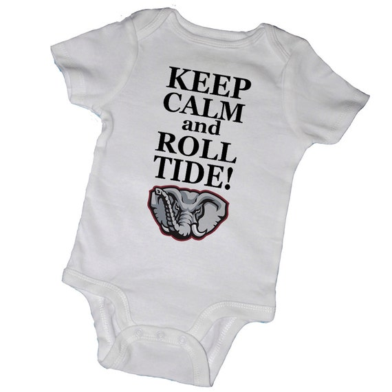 KEEP CALM and ROLL TiDE Baby BodysuitsCrimson Tide by EmbryLu
