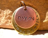 The Dylan (#010) - Unique Handstamped Pet ID Email Tag Layered 2 Disc Dogs