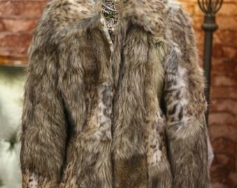SALE Beautiful Vintage Style Warehouse Patchwork Faux Fur Coat Jacket Sz uk12 Sz M/L