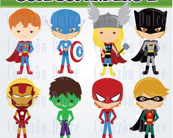 Cute Superhero2- Personal and Commercial Use Clip Art -INSTANT DOWNLOAD FILES -