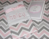 Monogrammed Personalized Baby Gift  Burp Cloth   Chevron Pink or Aqua Blue Mist  and Gray