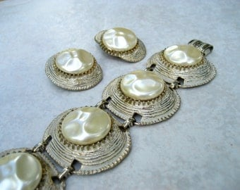 Vintage Selro Bracelet Earrings Set Ivory Baroque Pearl Enamel Panel