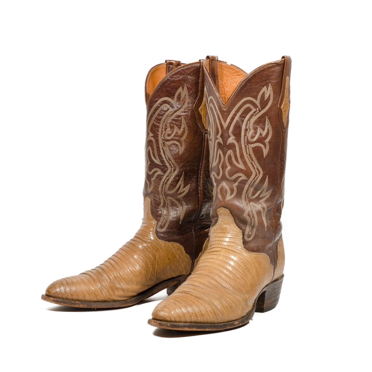 El Dorado Brown Cowboy Boots Men Lizard Skin Western by ShopNDG