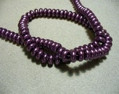 Glass Pearl Beads Purple Rondelles 8x3MM