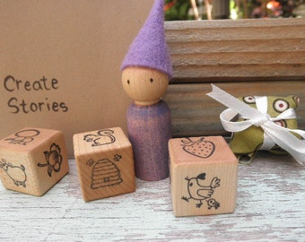 WOOD TOYS Play Set- Peg Doll-Story Dice-Moleskin Notebok-Waldorf Inspired