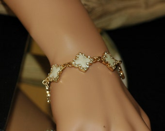 Clover Bracelet - Gold Four Leaf Mother of Pearl Clover Bracelet. Gift for her. Toggle clasp. Crystal Clover