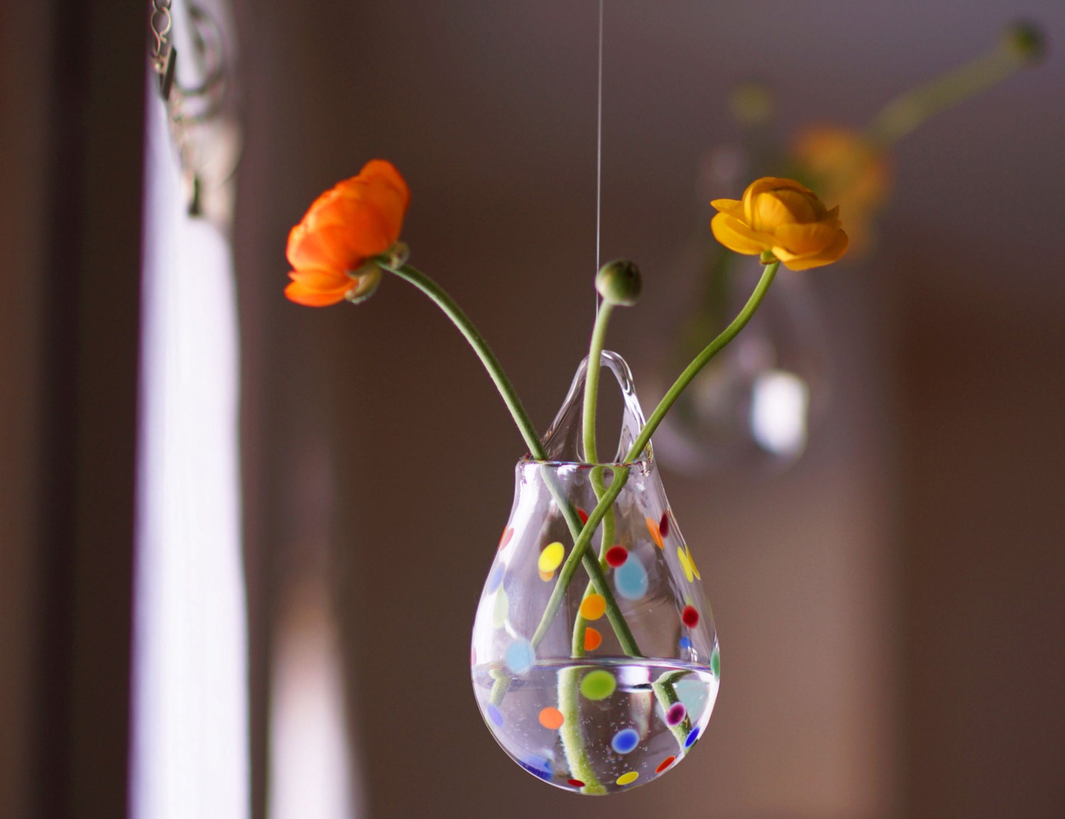 Hanging glass vase blown glass wall vase polka dot glass for Handmade items for home