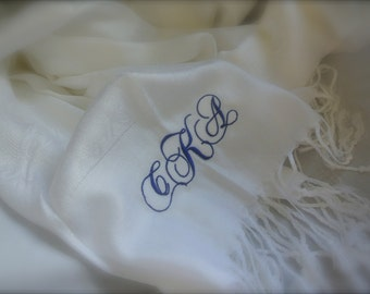 Monogramed Pashmina Shawls, Bridal Gift, Wedding Accessories
