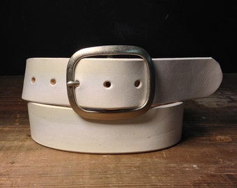 White Leather belt - Handmade in USA