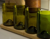 Wedding Registry for Chris and Jessica Fite. Set of 4 recycled wine bottle tumblers in shades of green.