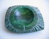 Hold for Brittprice. RARE  Malachite Stone Ashtray.  Carved & polished.  Gorgeous.  Modernist.  Mid century modern, Eames era.  Vtg 1960.