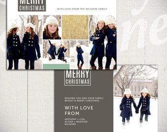 Christmas Card Template: Bright White C - 5x7 Holiday Card Template for Photographers