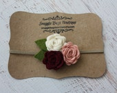 Felt Flower Headband - A Bouquet of Roses in Vintage Pink, Cranberry and Off White - Newborn Baby to Adult