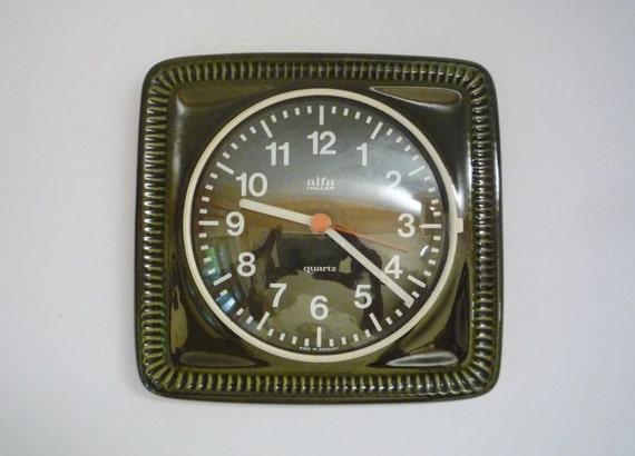 Vintage German Ceramic Wall Clock from Alfa