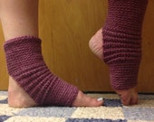 Yoga Socks in Acrylic Wool Blend in Deep Rose Heather -- for Yoga, Dance, Pilates, Pedicures