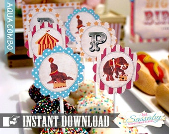 Vintage Circus Cupcake Toppers/Party Circles Aqua Combo - INSTANT DOWNLOAD - Editable & Printable - Birthday Party Decoration