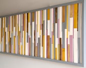 Wall Art sculpture, painted wood pieces grey, mustard, mauve, lilac, walnut, yew, oak,