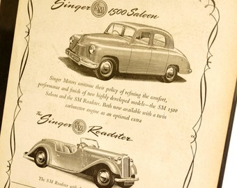 Vintage Singer 1500 Saloon and Singer Roadster Original Print Ad, Period Paper (1952) - Automobile Collectible, Ephemera