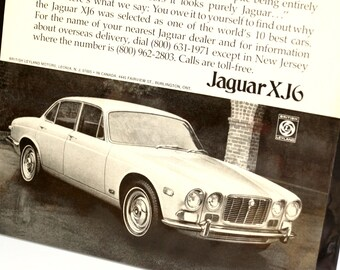 Vintage Jaguar XJ6 Jag British Leyland Sedan Original Print Ad, Period Paper (1972) - Automobile Collectible, Ephemera