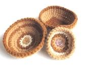 "Set of 3 crochet baskets/bowls ""Mali"", organic pure wool, natural wool, plant dye, beige, brown, hazel, lilac, white, OOAK, one of a kind"