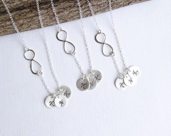 Set of THREE... Infinity Necklaces with Three Initials -- Personalized Sterling Silver -- Mother Daughter -- Friendship -- Sisters