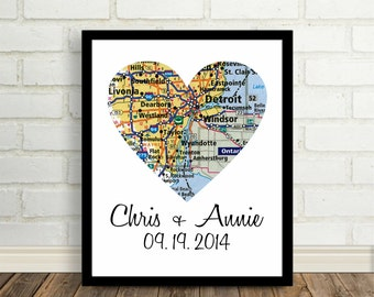 Detroit Map Heart Poster Print Detroit Wedding Any City Available Worldwide - Office Art Engagement Gift Newly Engaged Gift Valentine Gift