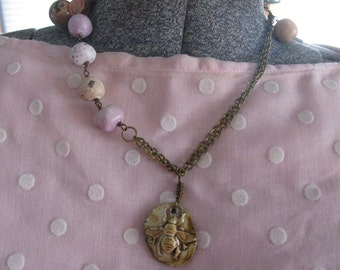 Beaded and Ribbon Bumblebee Necklace