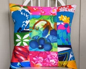 Pillow Cover - Vintage Tropical Floral Crazy Quilt - Blue, Green, Pink & Yellow - 18 x 18