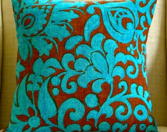 Pillow Cover - Vintage Aqua and Chocolate Floral - 18 x 18