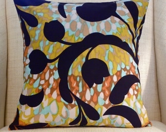 Pillow Cover - Vintage Black Floral Abstract Watercolor - Aqua, Mustard, Putty, Rust, Brown - 18 x 18