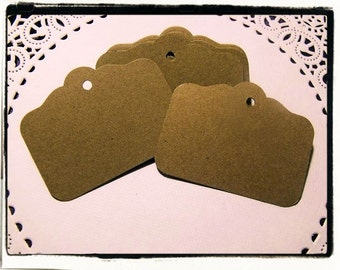 "Large Kraft Brown Tags / Labels/ die cut tags 2"" x 1  1/2"" (set of 100)"