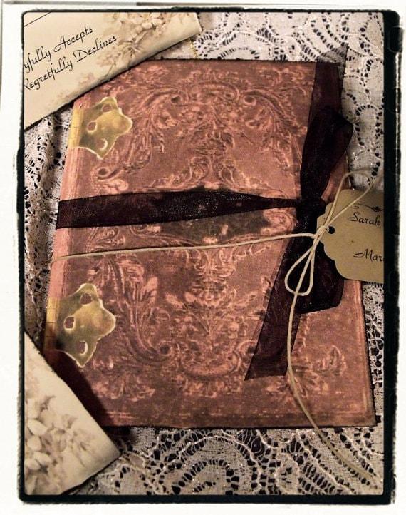 SAMPLEVenice Vintage Inspired Wedding Invitation Book OnePaperHeart Stationary Amp Invitations