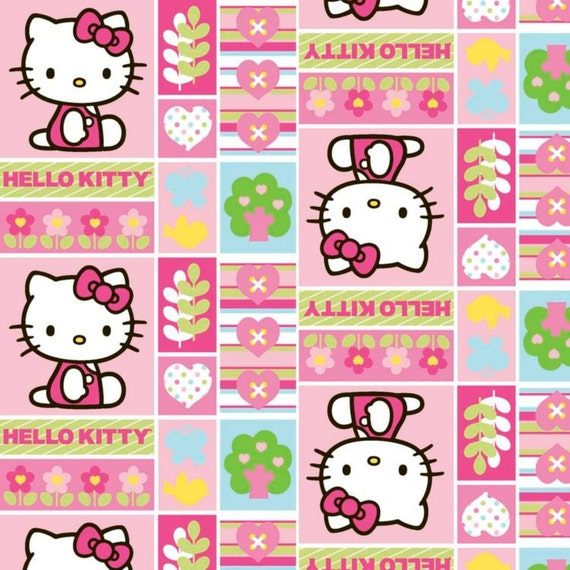 """Hello Kitty Fabric,Hello Kitty Patchwork Fabric,Girls Fabric,Quilt Fabric,Apparel Fabric,Craft Fabric,END OF BOLT 1 Yard 11"""" x 44"""" Wide"""