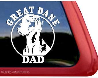 Great Dane Dad | DC764DAD | High Quality Adhesive Vinyl Harlequin Great Dane Window Decal Sticker