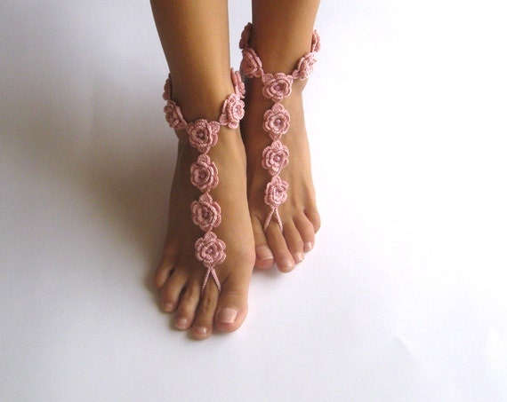 Items Similar To Crochet Barefoot Sandals Dusty Rose Nude