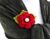 Crochet Flower Brooch Red, unique, Mothers day, Gift