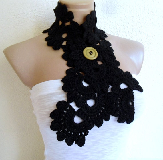Crocheted Black  Lace Neckwarmer,scarf,fashion,gift, valentine,  winter trends, fashion, 2014
