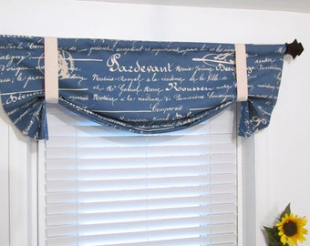 French Stamp  Denim Blue Natural Tie Up Curtain Valance  HANDMADE in USA
