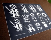 CLEARANCE - 8.5x11 inch Sheet Star Wars Stick Family Stickers