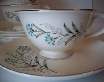 Beautiful blue flower tea / coffee cups and saucers