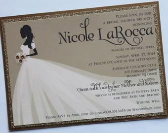 Elegant Bride Silhouette Bridal Shower Invitation