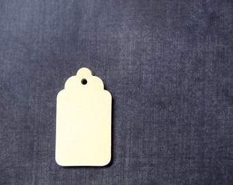 30 Medium Cream Tags, Gift Tags, Party Favor Tags, Scalloped