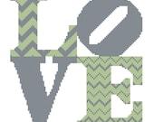 Modern Cross Stitch Wedding Pattern Chevron Love Square Modern Cross Stitch Chart Pattern