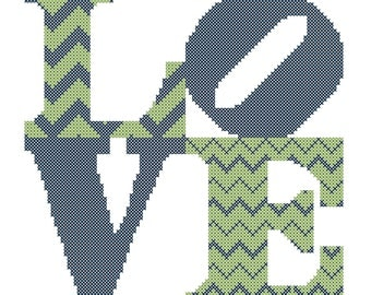 Modern Cross Stitch Wedding Pattern Chevron Love Square Modern Cross Stitch Chart Pattern