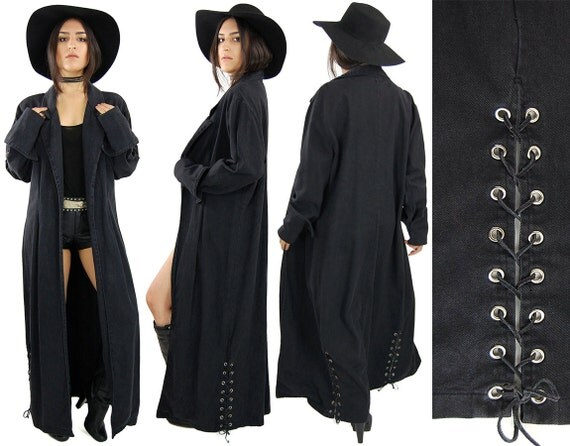 Sale Vintage Grey Denim Gothic Long Oversized Duster Coat