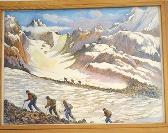 Original Rossignol Vintage French School double-sided poster the Countryside and the Glacier