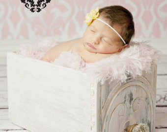 SET of 2 - 6 ft x 6 ft Vinyl Photography Backdrop for Newborns, Babies, Adults and Children  -- Light Pink Damask & White Barnwood