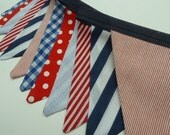 Bunting Banner NAUTICAL banner, small flag fabric bunting in red, navy, blue and white.